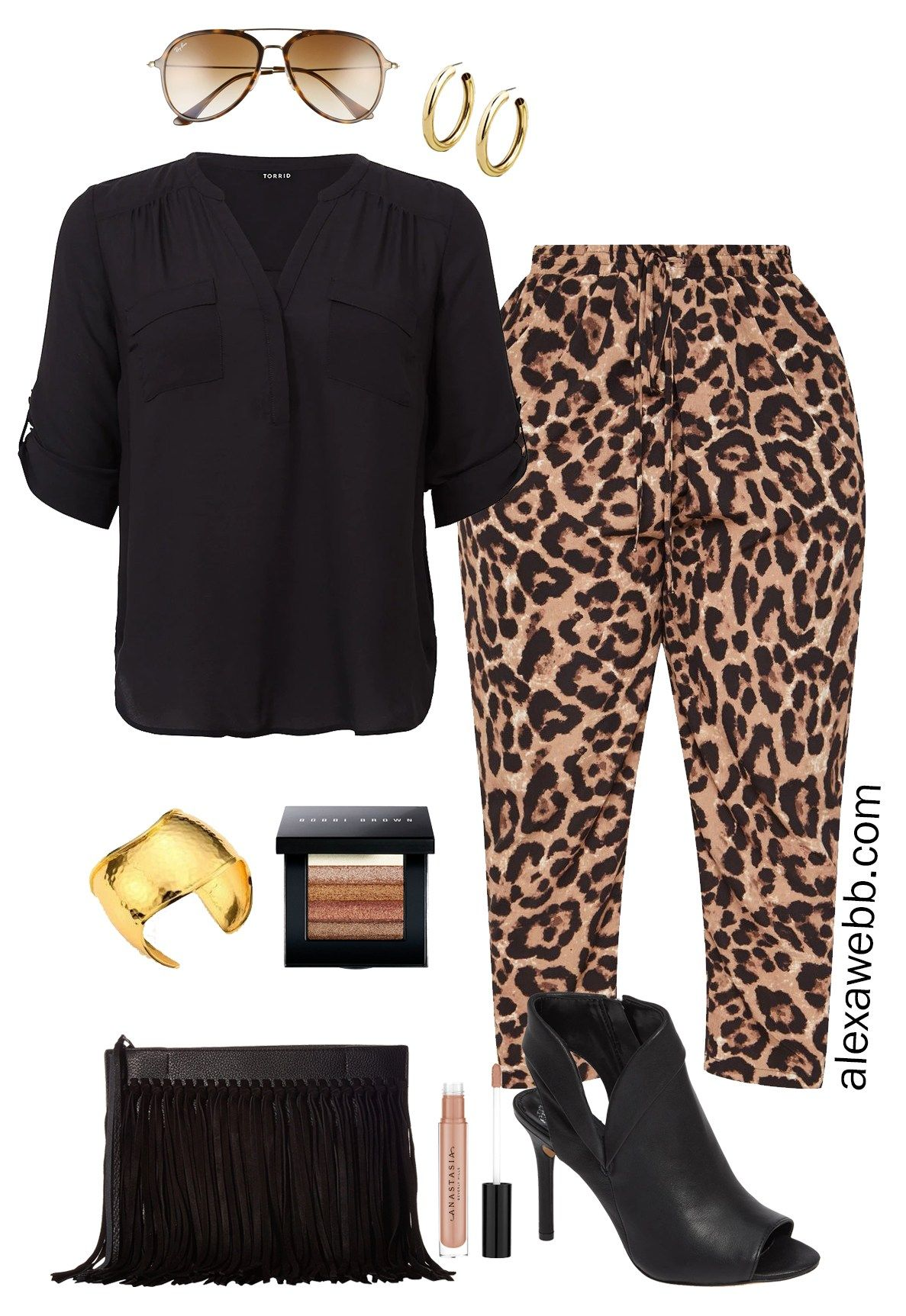 237515bc83bcc Plus Size Leopard Pants Outfit Ideas - Date Night Look - Plus Size Fashion  for Women - alexawebb.com #plussize #alexawebb