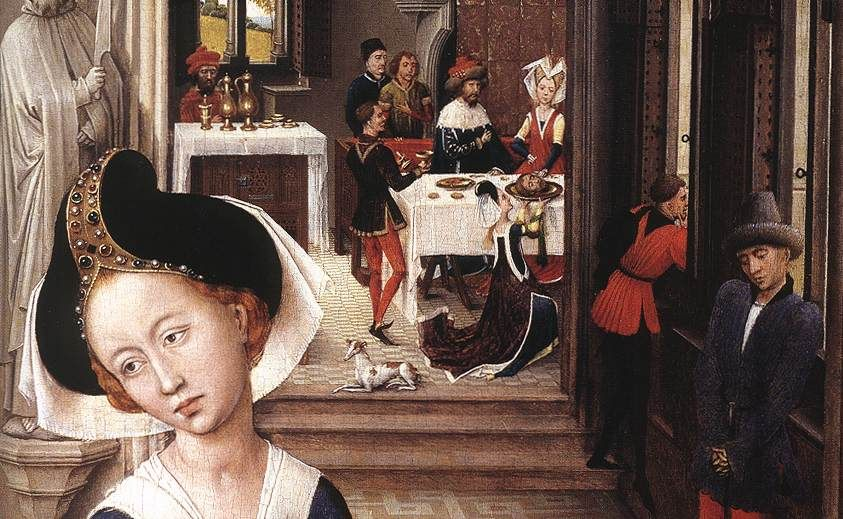 Rogier van der Weyden. St John Altarpiece (detail); 1455-60. Oil on oak panel. Staatliche Museen, Berlin.