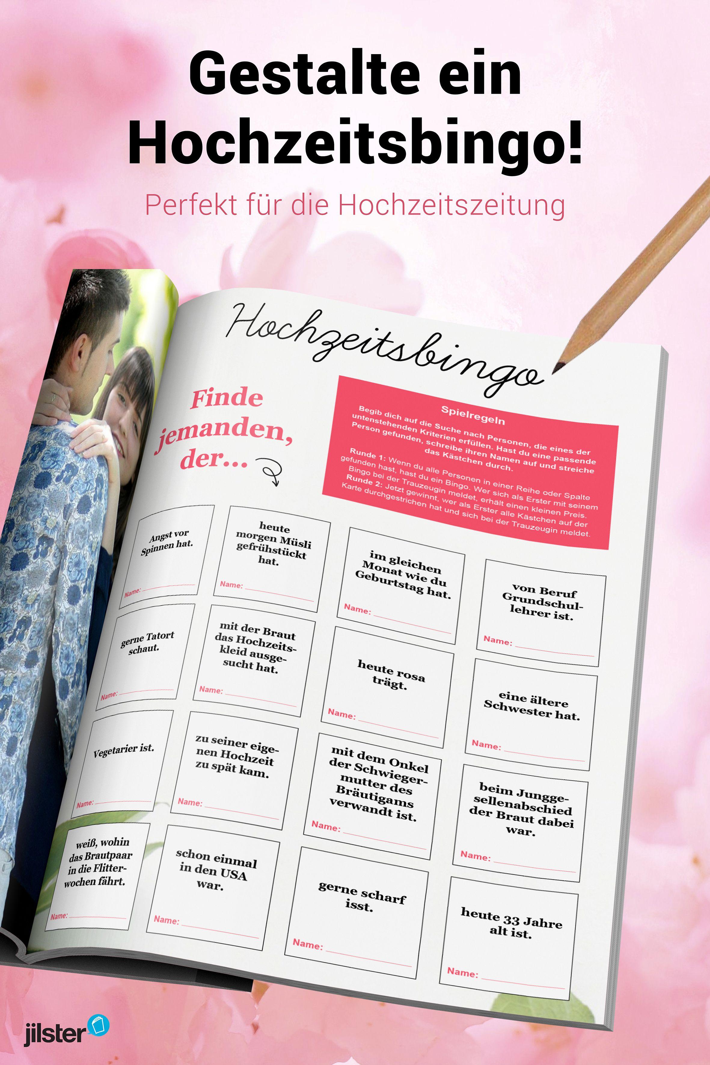 Bingo  Hochzeitszeitung gestalten  Vorlagen Tipps