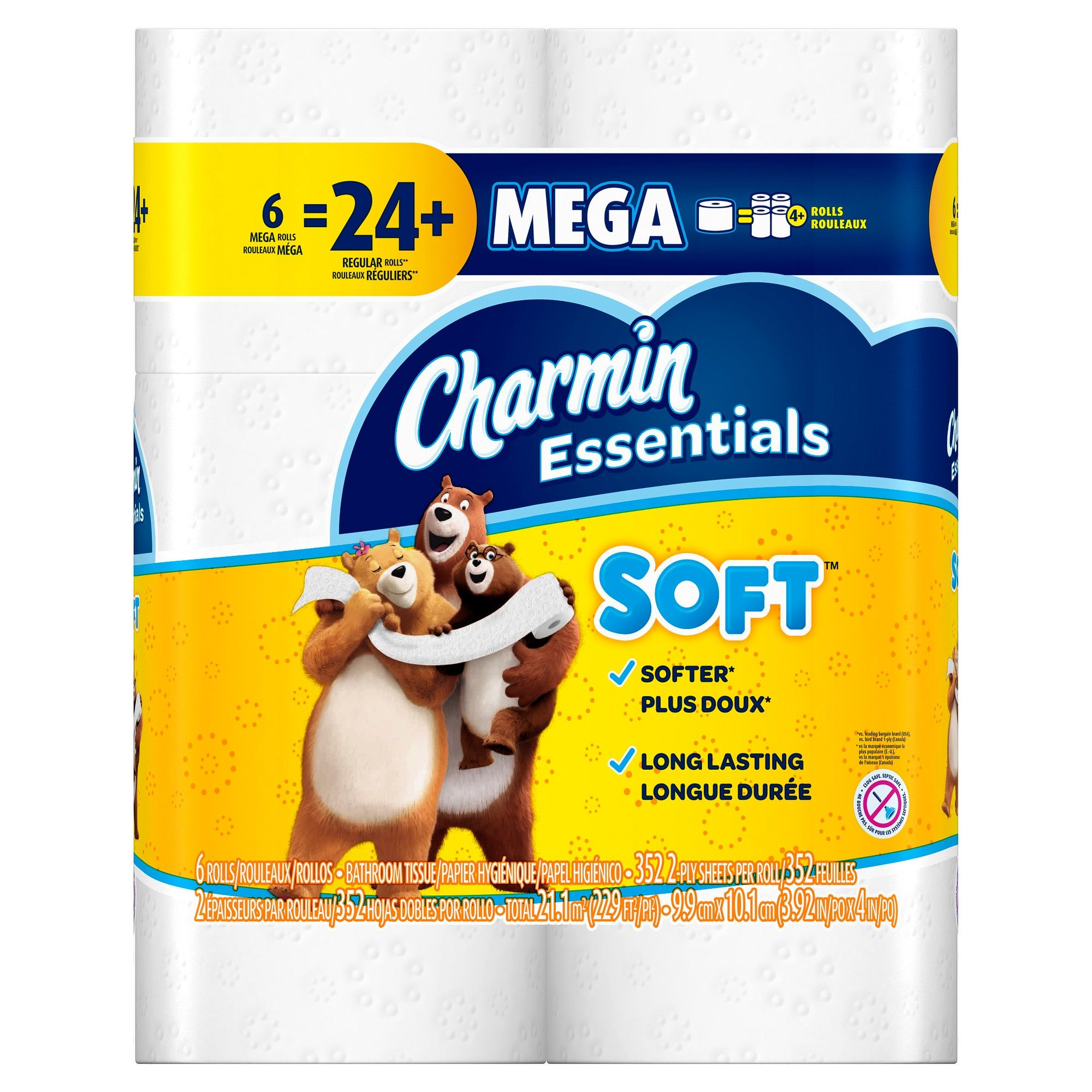 Charmin Essentials Soft Toilet Paper 6 Mega Rolls Bath Tissue Toilet Paper Paper