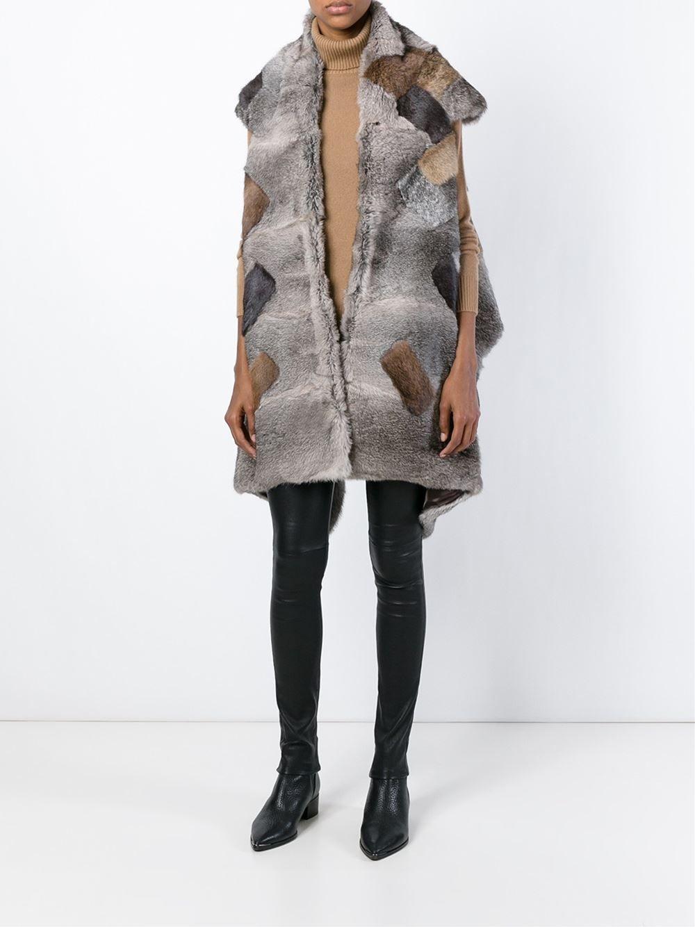 Maison Margiela Patchwork Fur Asymmetric Jacket - O' - Farfetch.com