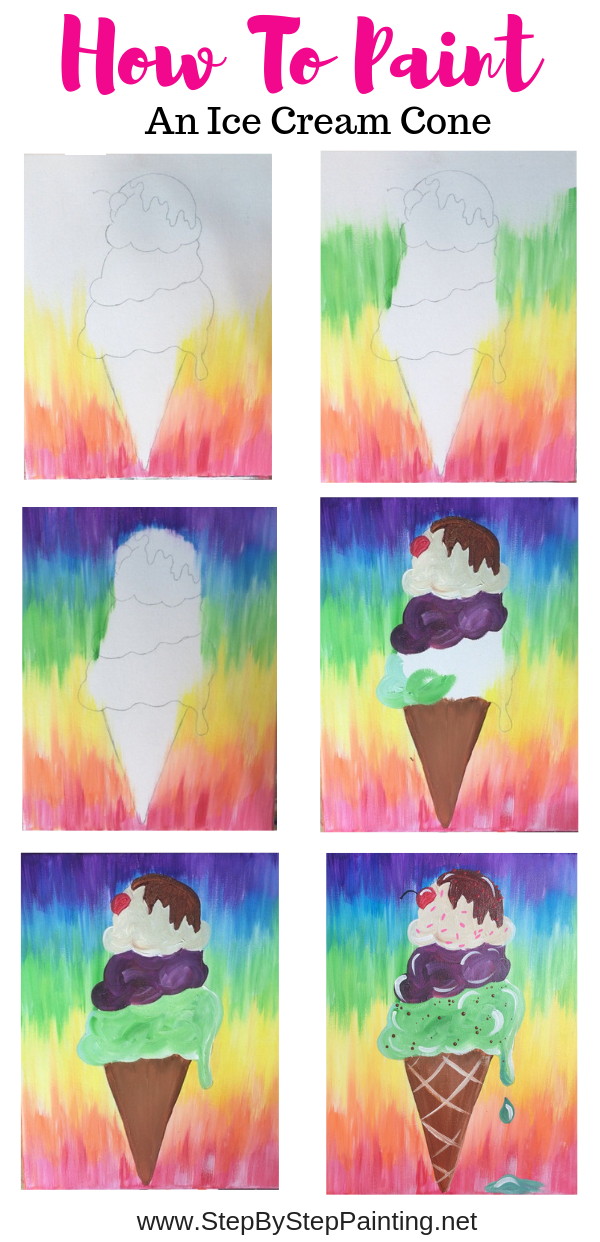 Ice Cream Cone Painting Step By Step Tutorial For Beginners