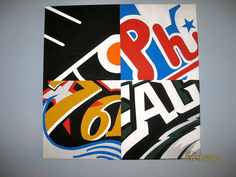 4276e260eb2 24x24 Original Philadelphia Sports Team Logo Prints by RobinLynnF on etsy
