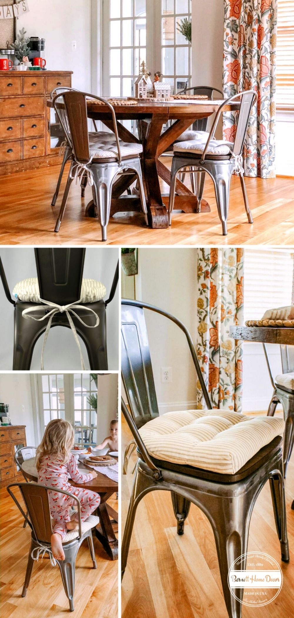 Farmhouse Decor Cushions for Industrial Tolix-Style Dining Chairs