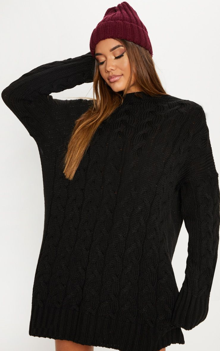 970b56b35acf Black Cable Detail Knitted Jumper Dress in 2019 | Products | Jumper ...