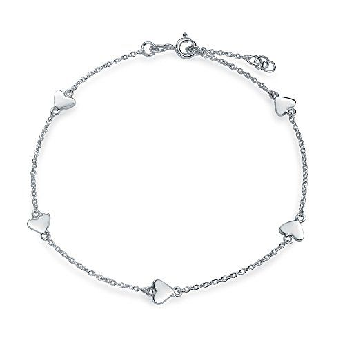 Bling Jewelry 925 Sterling Silver Valentine Heart Link Anklet Ankle Bracelet 9 Inches For Mo Sterling Silver Heart Ankle Bracelets Sterling Silver Bracelets