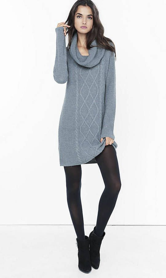 fa4ac197272 Gray Cowl Neck Cable Knit Sweater Dress