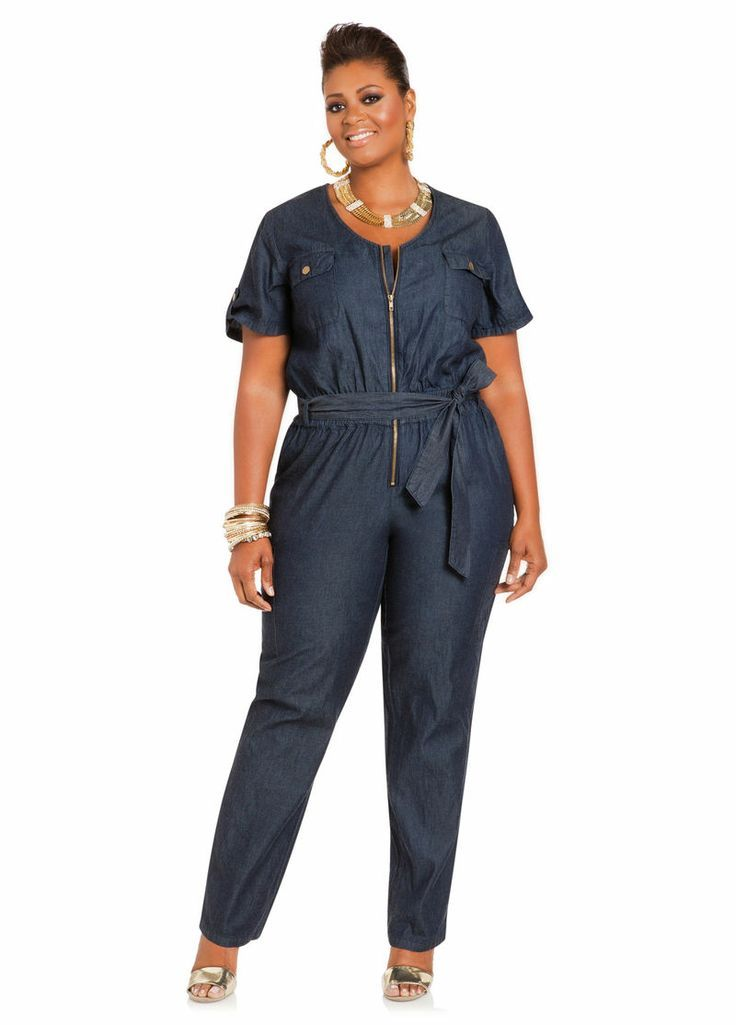 9409cf0cd5d Denim Brief-Sleeve Jumpsuit - Ashley Stewart. Take a look at more at the
