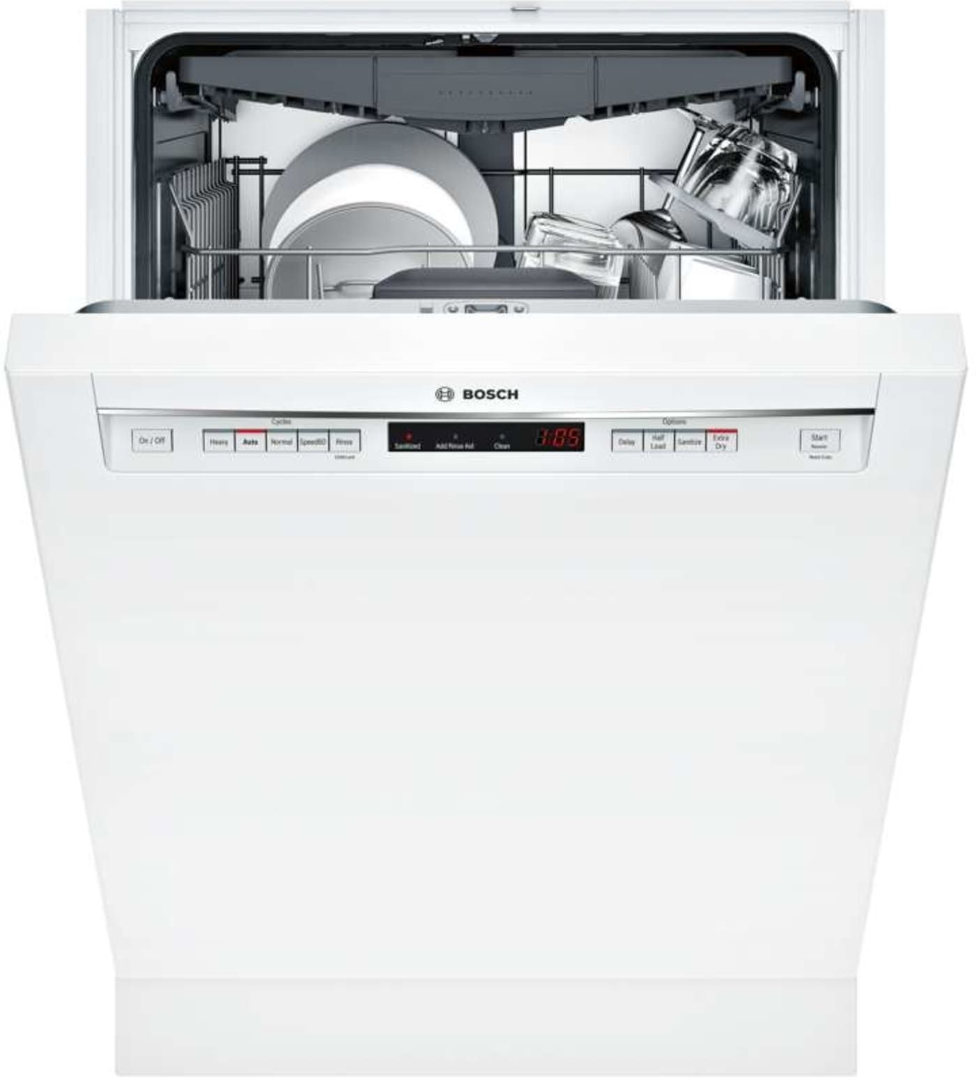 It S Easy To Forget The Bosch Shem63w52n 300 24 White Semi Integrated Dishwasher Energy Star Is Even The Steel Tub Built In Dishwasher Integrated Dishwasher