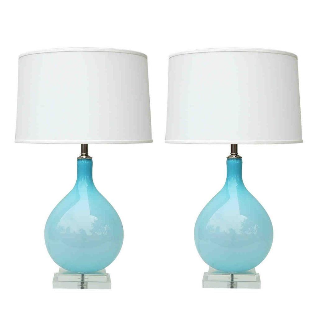 Modern Glass Lamp Tables  Lamps  Pinterest  Blue glass lamp