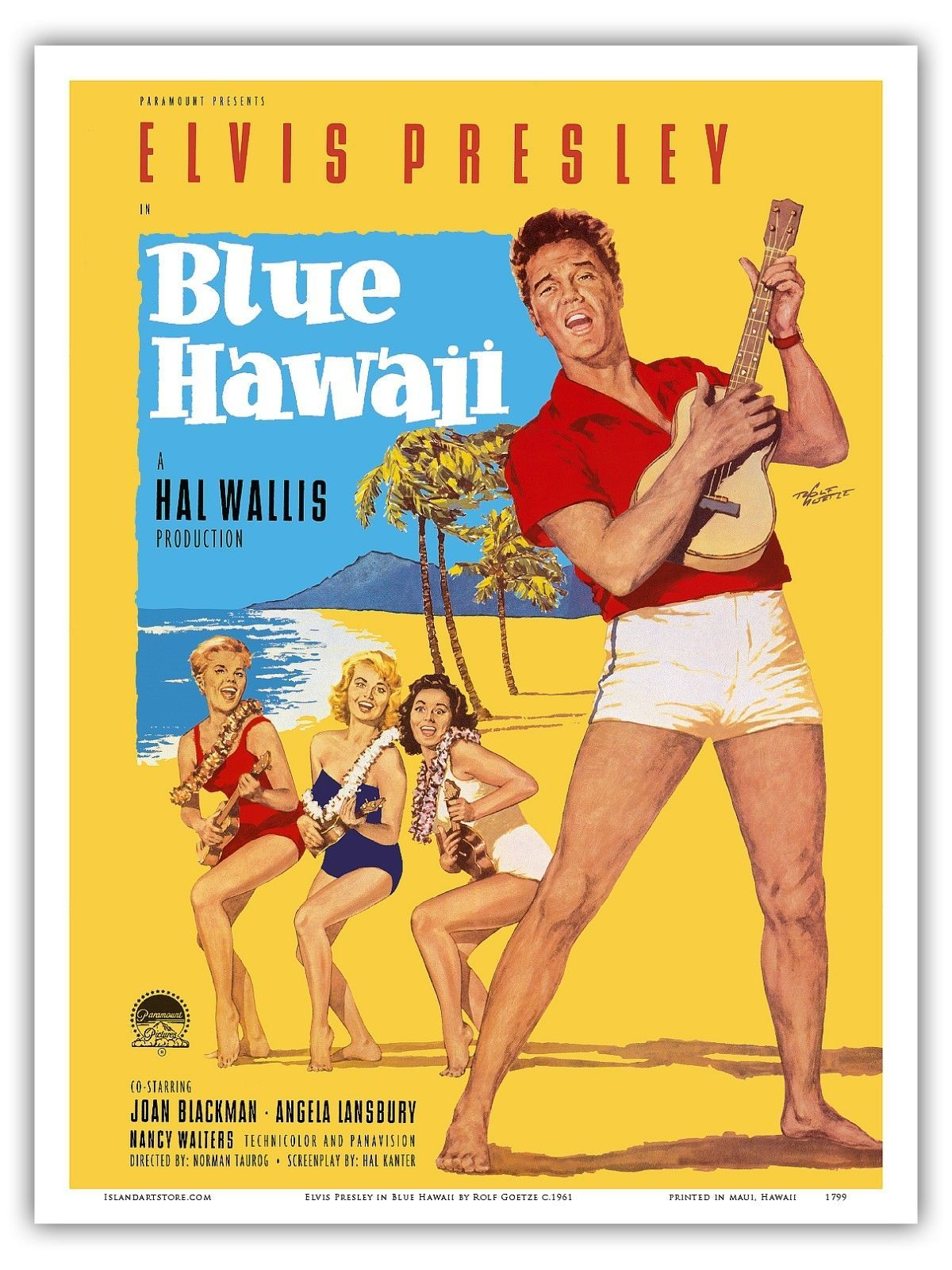 Elvis Presley In Blue Hawaii Goetze 1961 Vintage Film Movie Poster Print