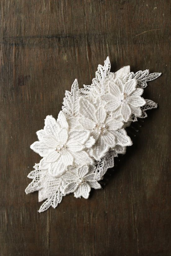 The LILLIAN beaded and floral lace wedding headpiece in white | Handmade wedding accessories by @Emily Schoenfeld Schoenfeld Schoenfeld Schoenfeld Schoenfeld Whitehouse Handmade