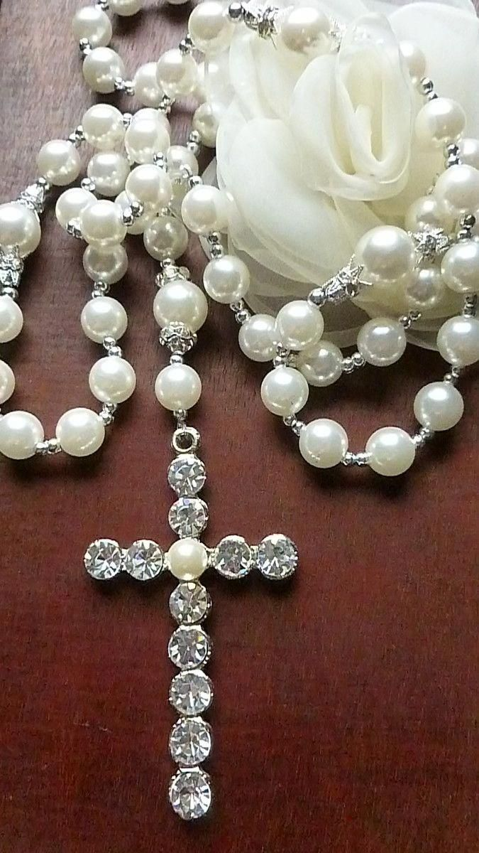 SilverNecklaceMarkedKorea Rosary jewelry, Jewelry gift