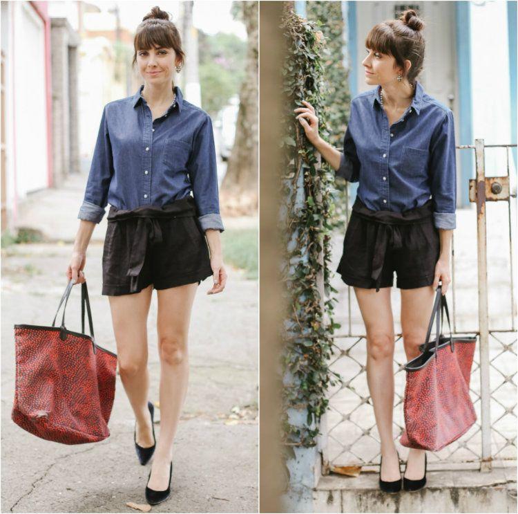 9070d9637 looks - thais farage - consultoria de estilo. short de couro, camisa jeans  - e scarpin