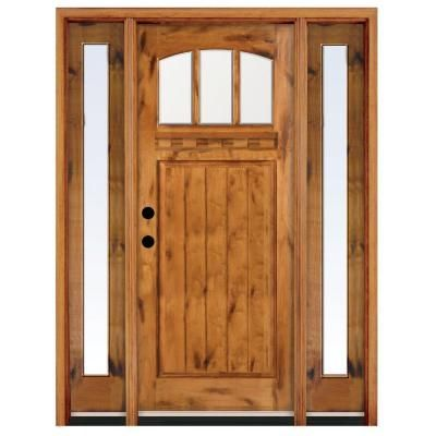 Craftsman 3 Lite Arch Stained Knotty Alder Wood Right Hand Entry Door  With12 In.