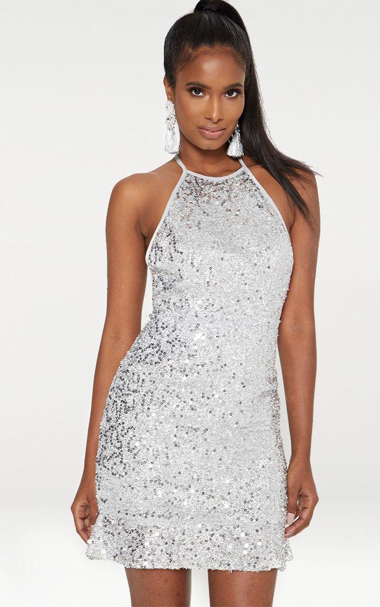 4c4913d9 Silver Halterneck Sequin Foil Frill Hem Bodycon Dress. Shop the range of  dresses today at