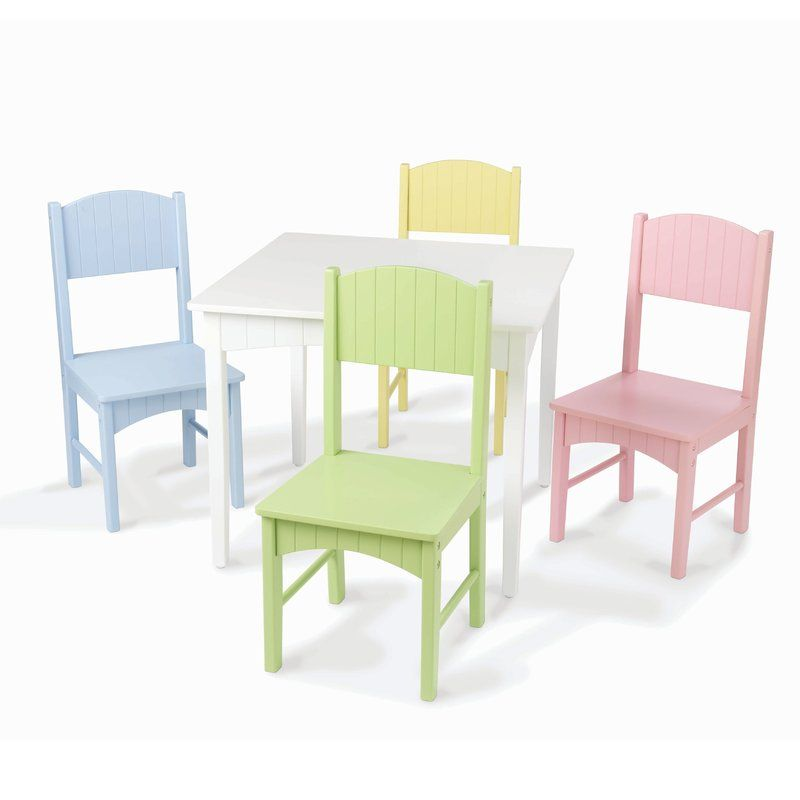 Nantucket Kids 5 Piece Writing Table And Chair Set Kids Table And Chairs Pastel Chair Kids Table Chair Set