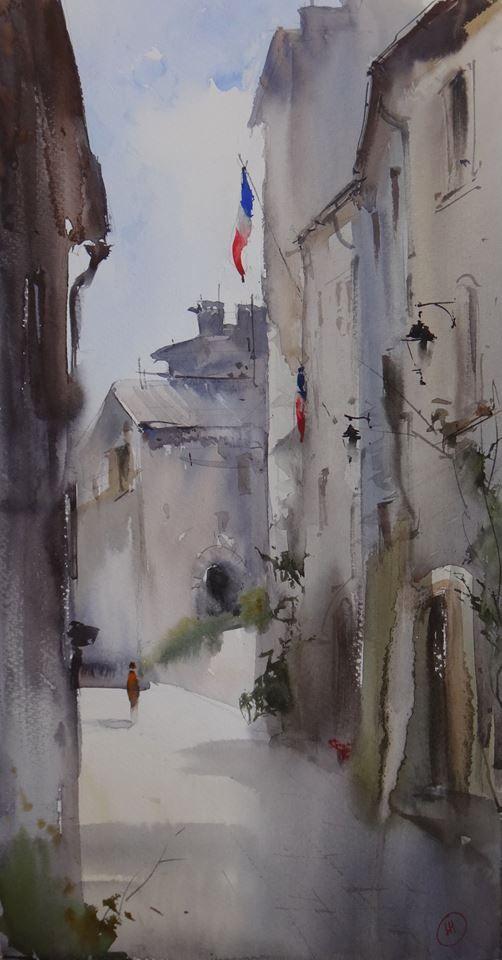 Ilya Ibryaev  - Plein Air in Rochemaure - (France) - watercolor (53х30) cm