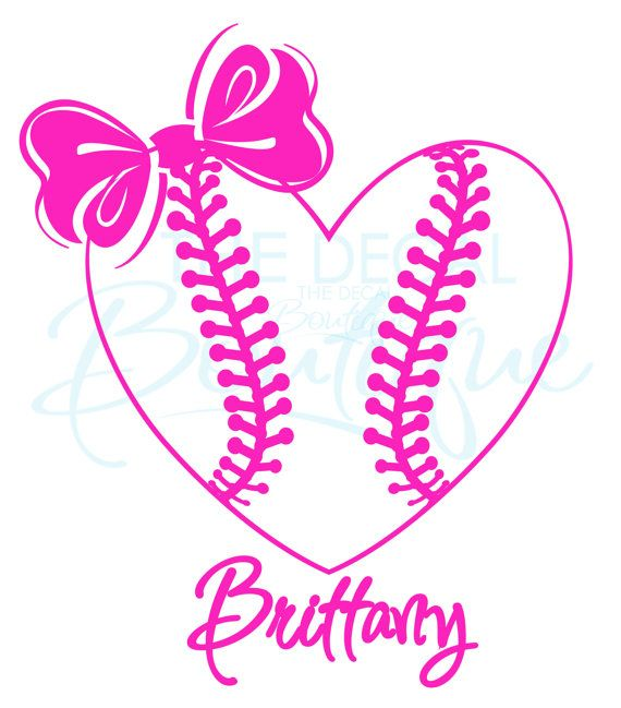 Personalized Softball Heart With Bow Wall By