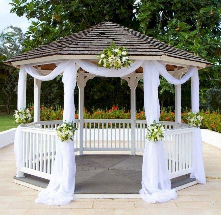54 Comfortable Backyard Gazebo Design Ideas Gazebo Decorations Outdoor Wedding Gazebo Wedding Gazebo Flowers