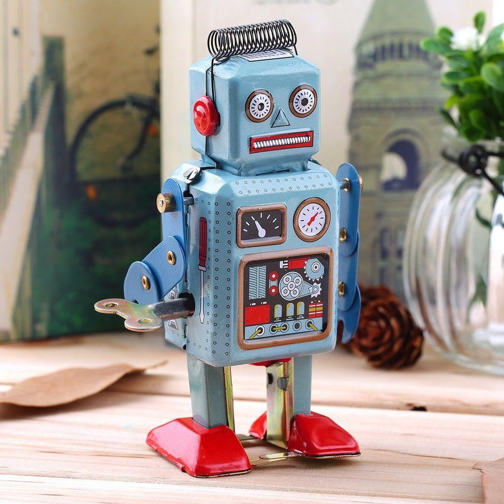 Vintage Mechanical Walking Robot Children Educational Toy