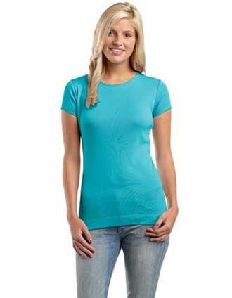 e3e3dfbc93b A Junior Ladies perfect fit Tee by District Threads is features with a 1X1  rib knit