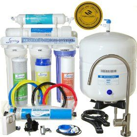 iSpring RCC7 - WQA GOLD SEAL - 5 Stages 75GPD Reverse Osmosis Water Filter System featuring Brushed Nickel EU Faucet ($45 value) and Clear See-through 1st Stage  Reviews: http://www.reverseosmosisguides.com/best-ispring-reverse-osmosis-system-reviews/  The first model in this reverse osmosis system review is the Ispring 75 GPD water system. It is a 5-stage filtration process which traps particulate matter such as silt, rust, and dirt that may affect the appearance and taste of your water.