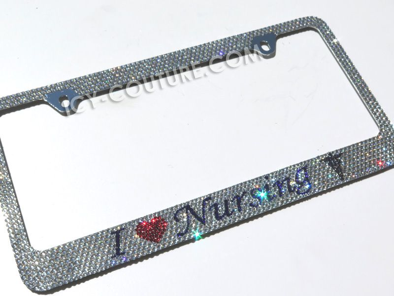 I LOVE NURSING Swarovski Crystals License Plate Frame | Bling Auto ...