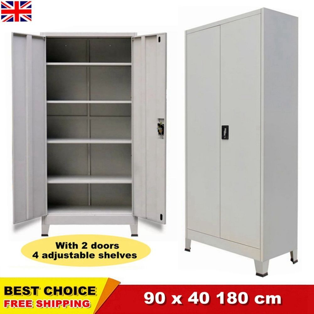 Metal Cabinet 2 Door Storage Office Cupboard Shelves Tall Steel Garage Grey Chic Ebay Cupboard Shelves Door Storage Office Cupboards