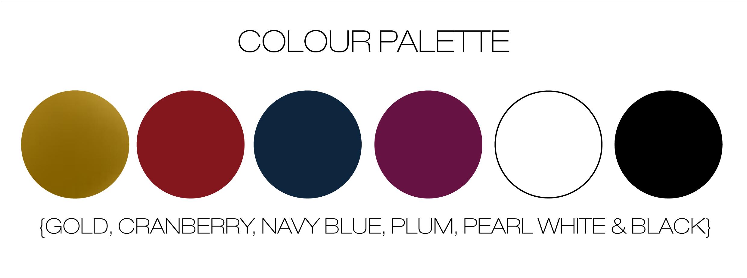 Colour Palette Gold Cranberry Navy Blue Plum Pearl White