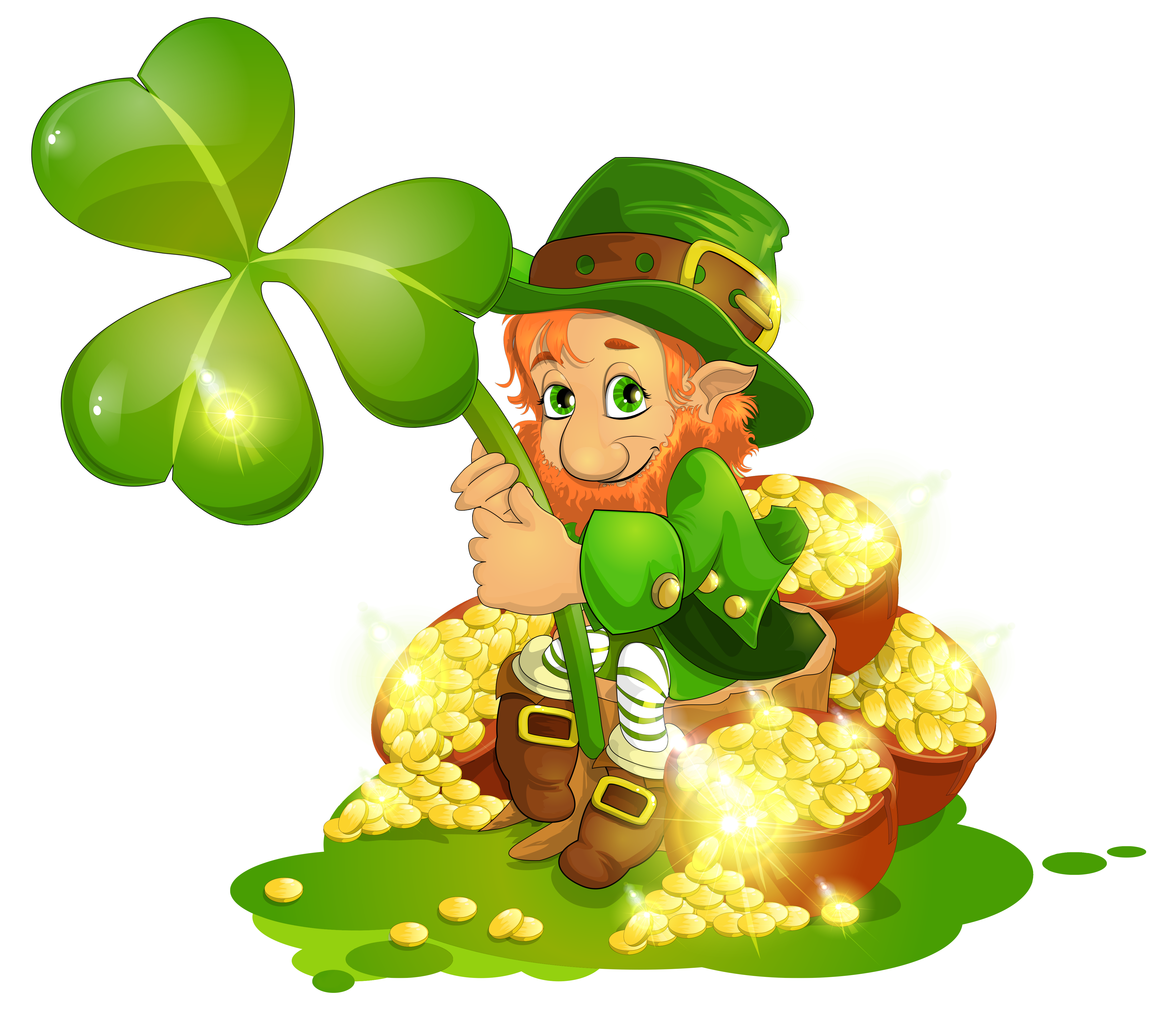 Saint Patricks Day Leprechaun with pot of Gold and Shamrock 4642x4039  Clip Art Holiday