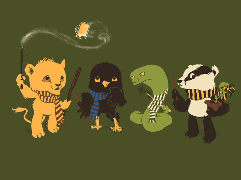 Baby Gryffindor, Ravenclaw, Slytherin, and Hufflepuff (Woot T-shirt)