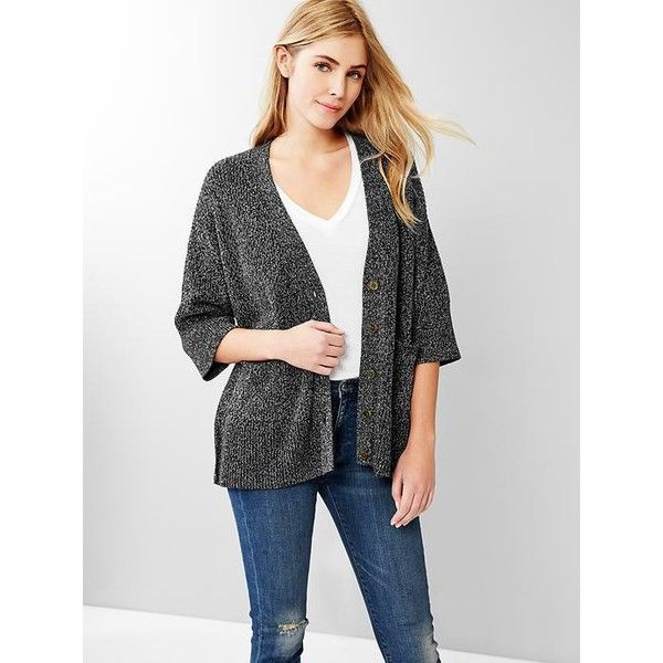 Gap Women Marl Oversized Swing Cardigan ($17) ❤ liked on Polyvore