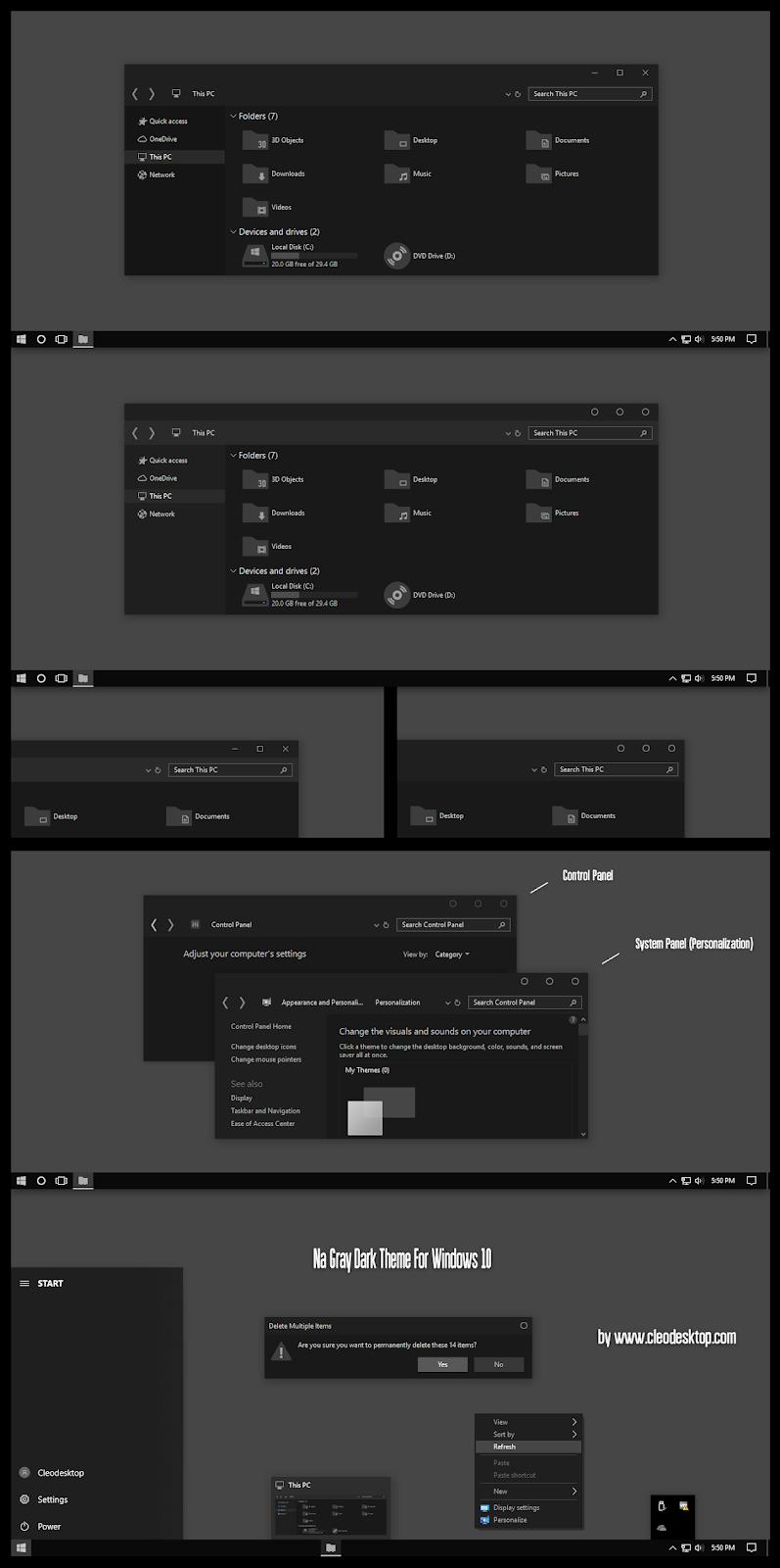 Na Gray Dark Theme Windows10 May 2019 Update 1903
