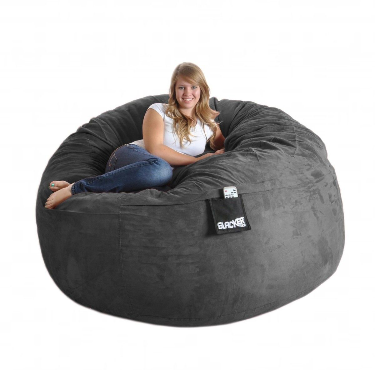 Slacker Sack Round Microsuede And Foam Bean Bag Charcoal Grey Cotton Find This Pin More On Chairs For Adults