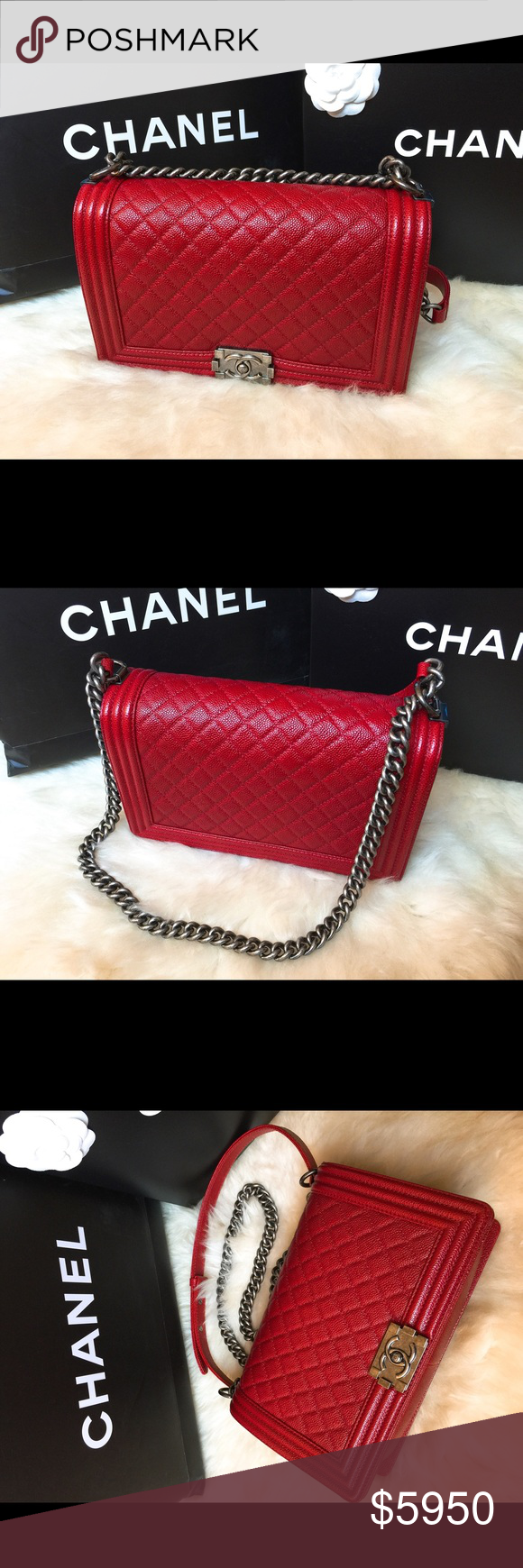 078f9e6d3783 Chanel Le Boy 28 in Red Brand new in the box with original shopping paper  bag, never been worn. Le Boy New Medium in Red, with grained calfskin and  ...