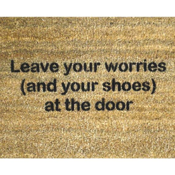 Door Mat With Cute Mantra Quot Leave Your Worries And Your