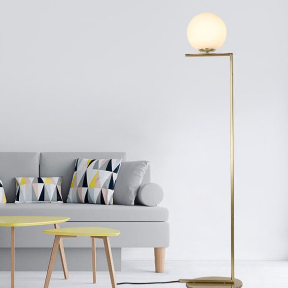 Gold Orb Shaped Floor Light Minimalism 1 Bulb Frosted Glass Right Angle Stand Up Lamp Floor Lamps In 2020 Floor Lights Gold Floor Lamp Led Ceiling Light Fixtures #stand #up #lights #for #living #room