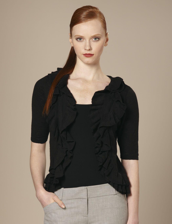 black ruffle cardigan, short sleeves.. good for strapless dress ...