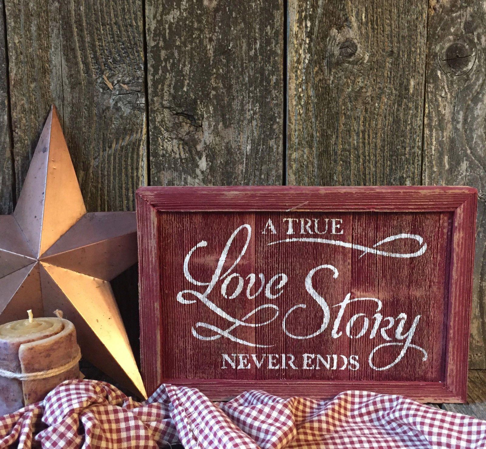 Primitive LOVE STORY Sign Rustic Wedding Inspirational