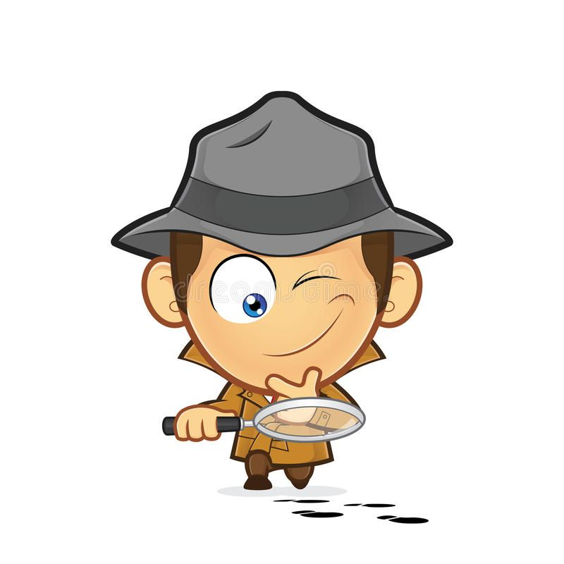 Detective Investigating A Track Of Footprints Clipart Picture Of A Detective Cartoon Character Investigating A Track Of Footpr Detective Illustration Clip Art
