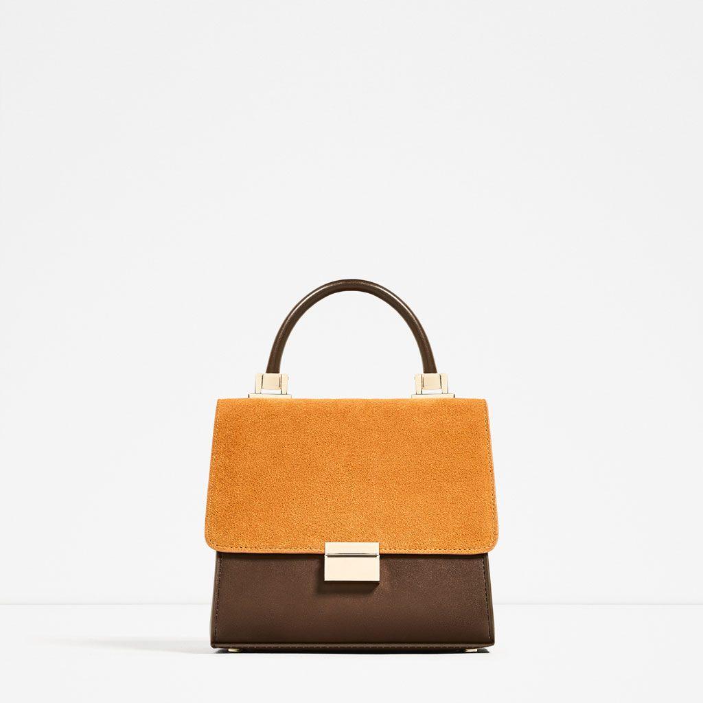 Mini leather tote bag zara - Zara Woman Mini City Bag With Split Suede Flap