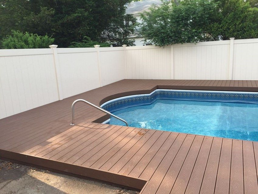Installed Trex Saddle Around In Ground Pool In Ground Pools