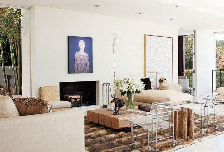 chimenea salon moderno mesa madera original ideas