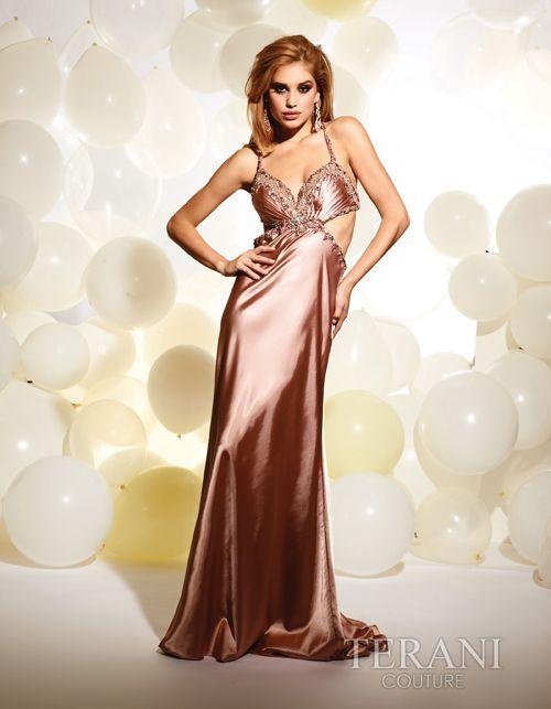2012 Prom Dresses! Terani - Rose Satin Criss Cross Low Back Gown - 0-12