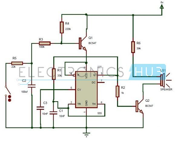here is a simple circuit diagram of wailing siren designed using 555 timer  operated in astable mode  we can use it in toys and as security alarm also