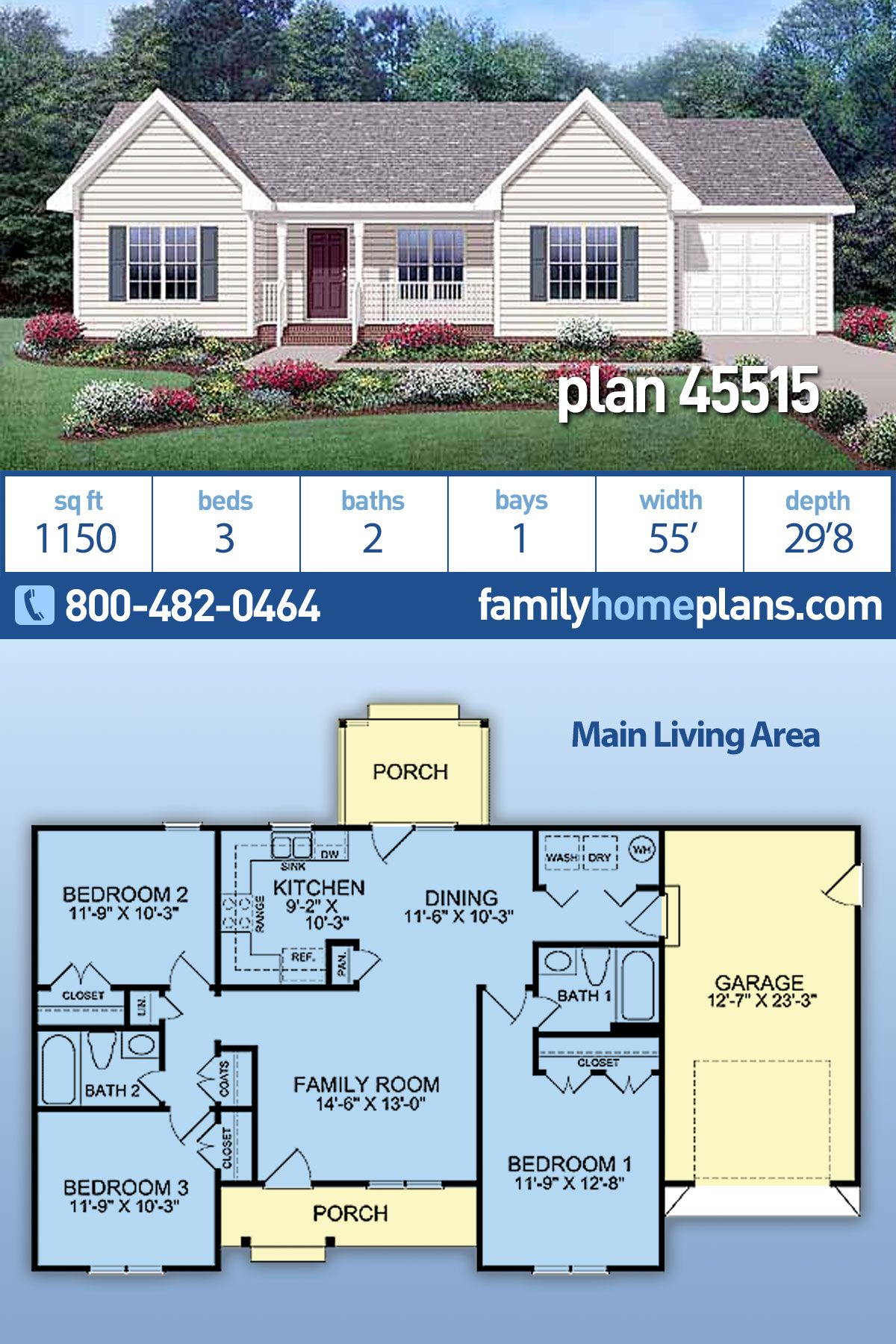 Ranch Style House Plan 45515 With 3 Bed 2 Bath 1 Car Garage Family House Plans Ranch Style House Plans Ranch Style Homes