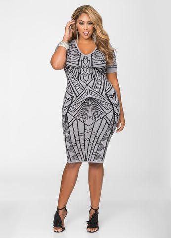 05e4225d89c Geo Print Bodycon Dress-Plus Size Dresses-Ashley Stewart