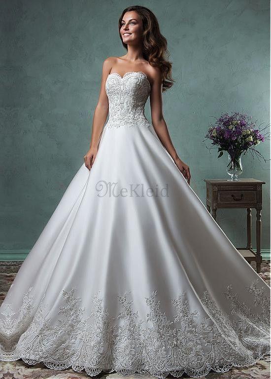 Satin Langärmelig Applikation Vintage Brautkleid   Wedding Dresses ...