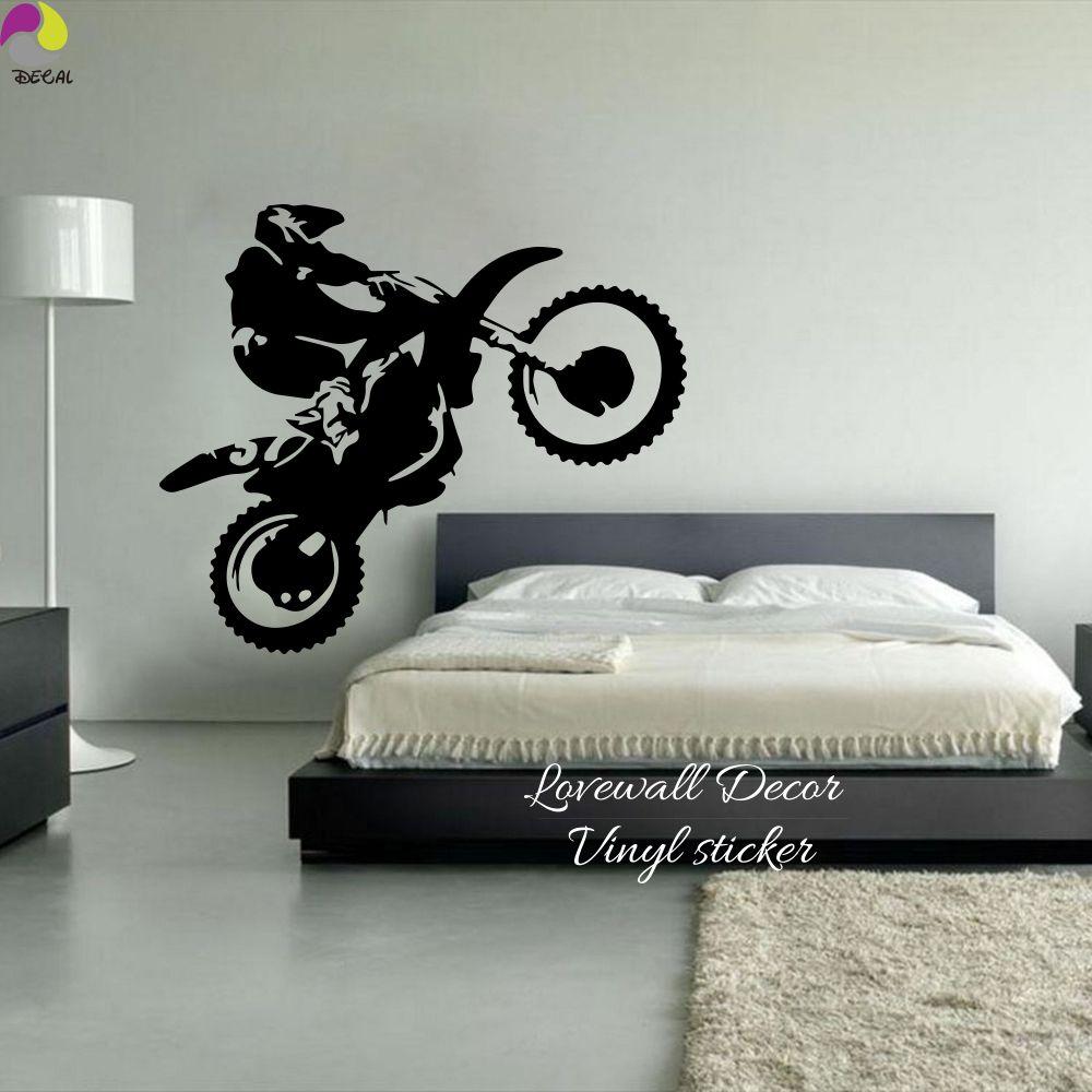 Motocross Wall Sticker Bedroom Boy Room Dirt Bike Dirtbike Moto Bike Wall Decal Kids Room Baby Nursery Vinyl Home Decor Art Diy Dinding Hiasan Seni